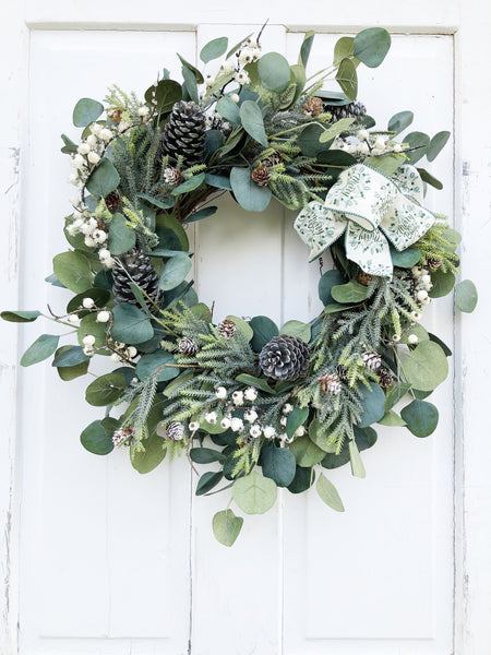 Christmas Eucalyptus and Icy Pine Holiday Wreath - Ash & Hart Floral