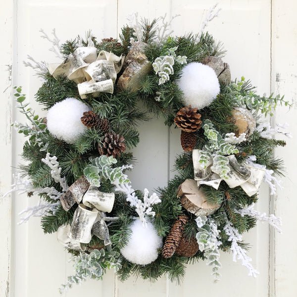 Winter Wonderland Wreath, Rustic Christmas Wreath - Ash & Hart Floral