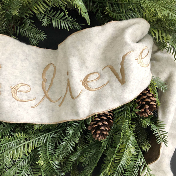 Believe Christmas Evergreen Pine Wreath, Winter Wreath, Holiday Wreath - Ash & Hart Floral
