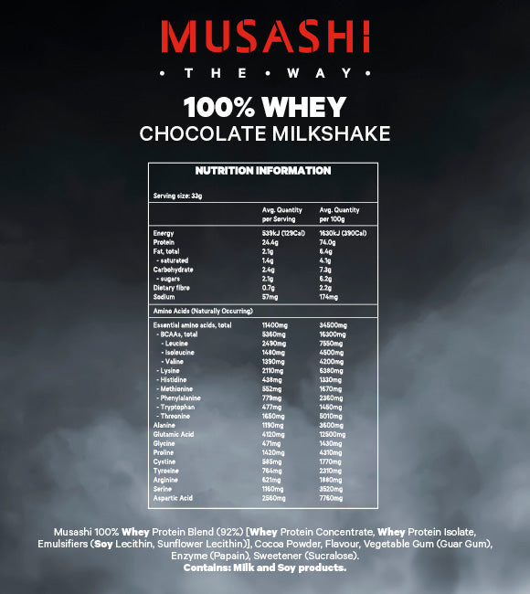 Musashi 100% WHEY Protein Powder - Super Nutrition