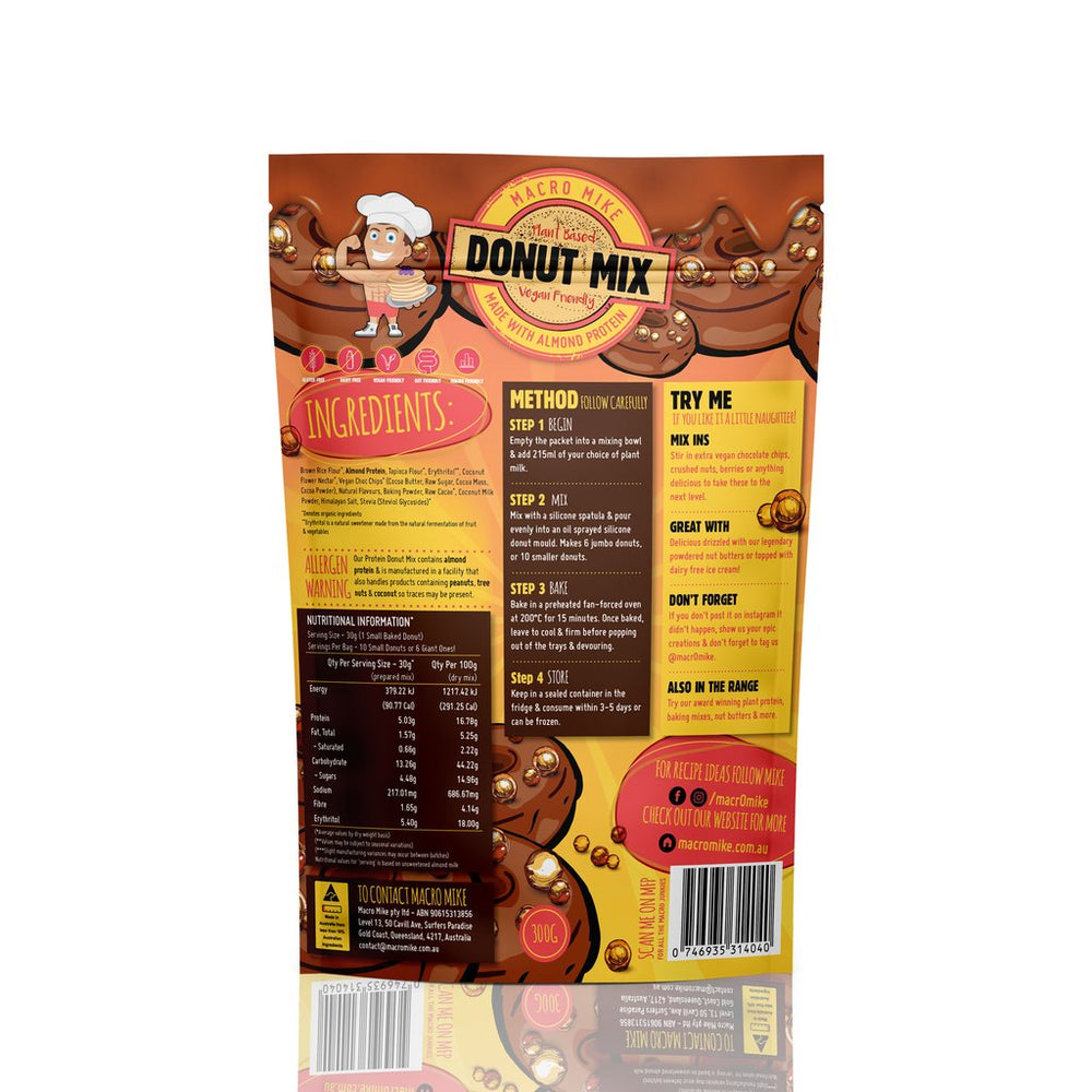 Macro Mike Choc Macadamia Donut Baking Mix (300g Bag) - Super Nutrition