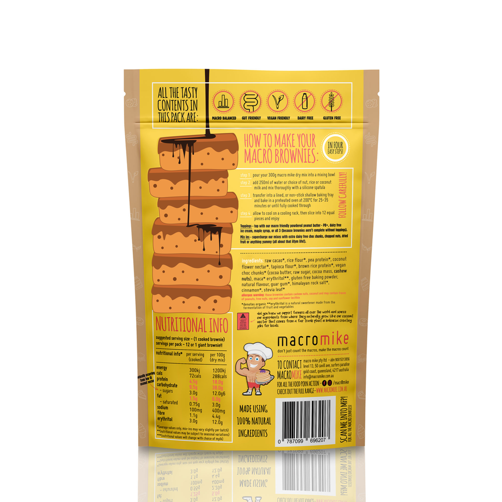 Macro Mike V2 Salted Caramel Brownie Mix (300g Bag) - Super Nutrition