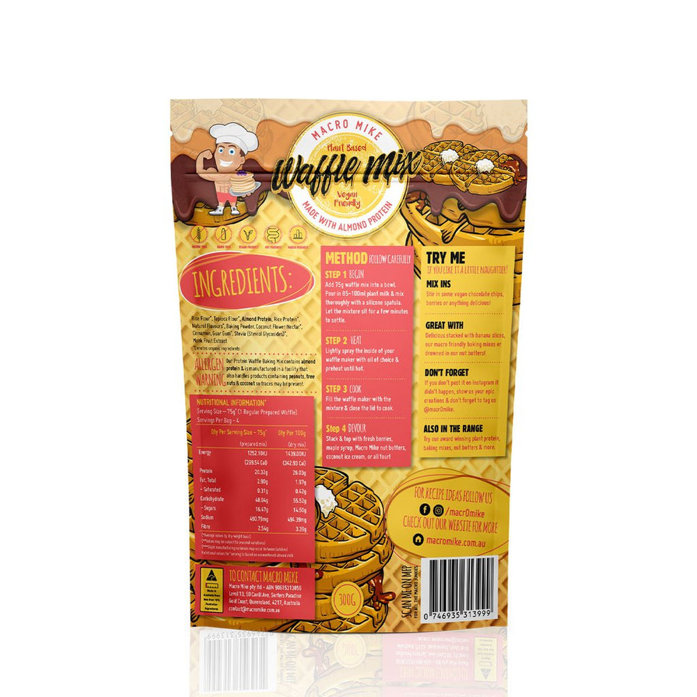 Macro Mike Almond Protein Waffle Mix (300g Bag) - Super Nutrition