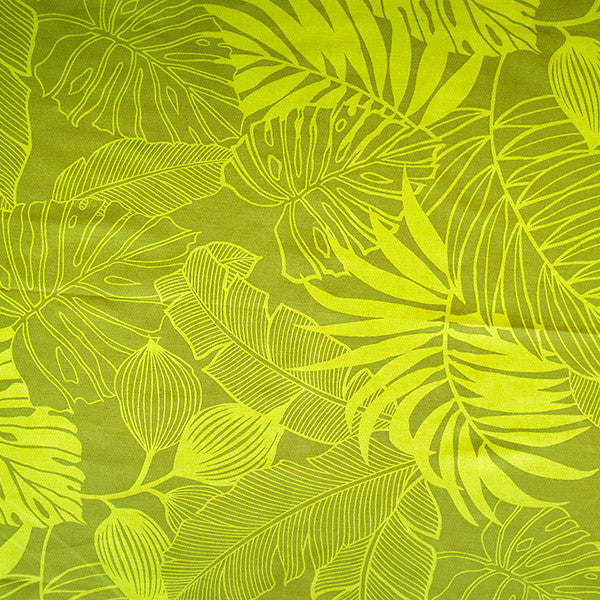"Furoshiki (Square Wrapping Cloth) - Green Hawaiian Leaves (35"" x 35"")"