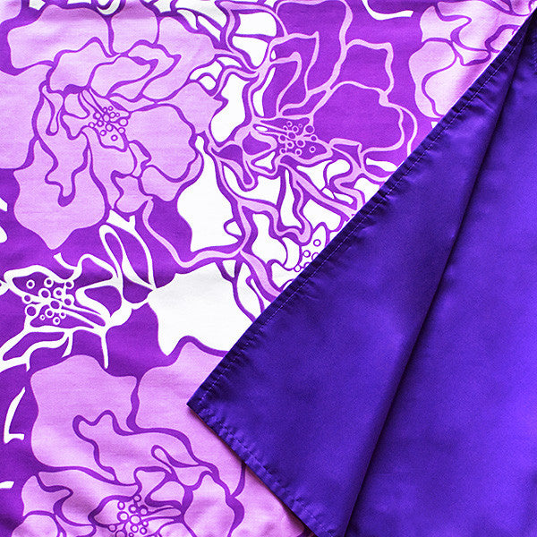 Reversible Furoshiki (Square Wrapping Cloth) - Purple Tropical Flowers (35