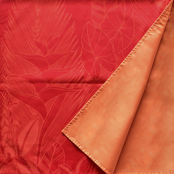 Reversible Furoshiki (Square Wrapping Cloth) - Red Tropical Flowers & Leaves (35