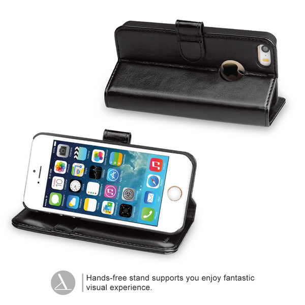 OCASE iPhone 5S Case iPhone 5 Case iPhone SE Case [Kickstand]  [Card Slot]Leather Wallet Case [Slim Fit] - For Apple iPhone 5 / 5S / SE Devices - Black
