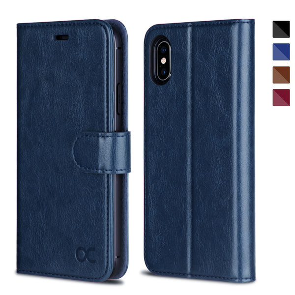 OCASE iPhone X/XS Wallet Case, iPhone 10 Case [ Wireless Charging ] [ Card Slot ] [ Kickstand ] Leather Flip Wallet Phone Cover Compatible for Apple iPhone X/XS/iPhone 10 - Blue