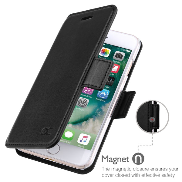 OCASE iPhone 8 Wallet Case, iPhone 7 Case Flip Leather Phone Case [Kickstand] [Card Slot] [Precise Cut-Out] – Case Apple iPhone 8 iPhone 7 (Black)