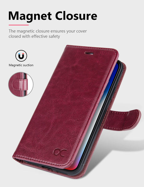 OCASE iPhone X  wallet Case, iPhone 10 Case [Wireless Charging ] Leather Flip Wallet Phone Cover [Card Slot] for Apple iPhone X  / iPhone 10 - Burgundy