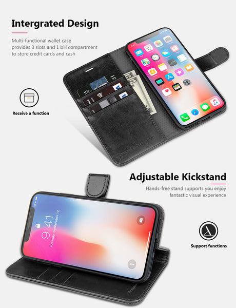 OCASE iPhone X/XS Wallet Case, iPhone 10 Case [ Wireless Charging ] [ Card Slot ] [ Kickstand ] Leather Flip Wallet Phone Cover Compatible with Apple iPhone X/XS/iPhone 10 - Black