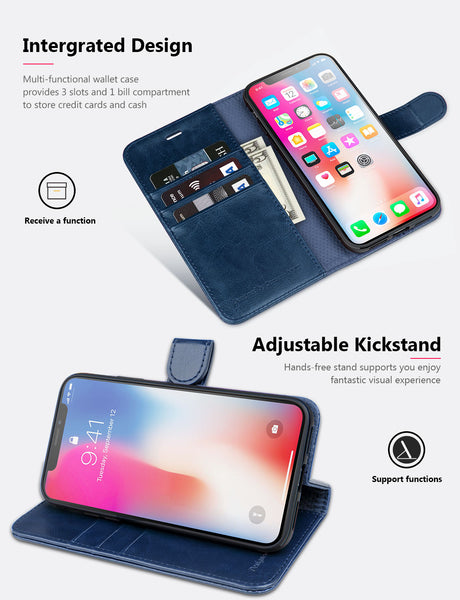 OCASE iPhone X Wallet Case, iPhone 10 Case [ Wireless Charging ] [ Card Slot ] [ Kickstand ] Leather Flip Wallet Phone Cover Compatible for Apple iPhone X/iPhone 10 - Blue