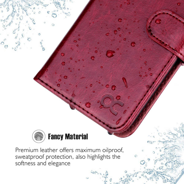 OCASE iPhone 6S Case [Free Screen Protector Included] Leather Wallet Flip Case for iPhone 6/6S Devices - Burgundy