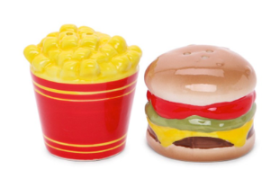 Junk Food Hamburgers and Fries Salt and Pepper Shakers
