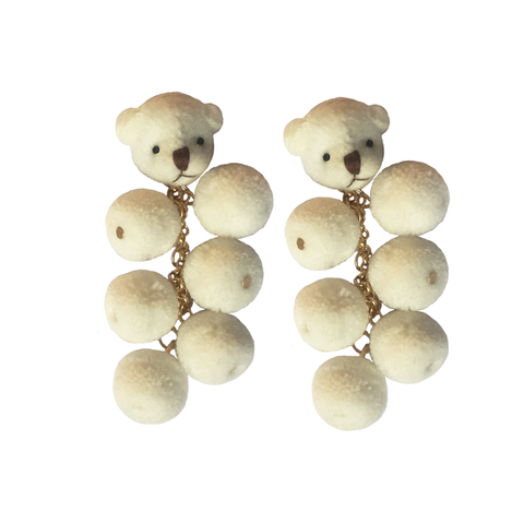 teddy bear plush earrings