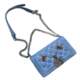 Queen Bee Quilted Denim Handbag