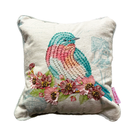 Beaded Bird Throw Pillow