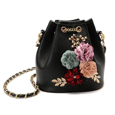 Black Floral Bucket Bag