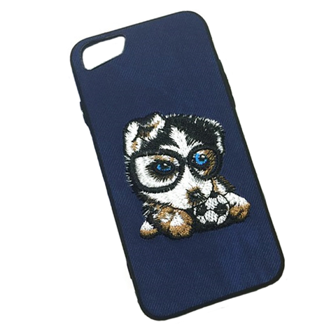 Embroidery Soccer Puppy Phone case for iPhone X