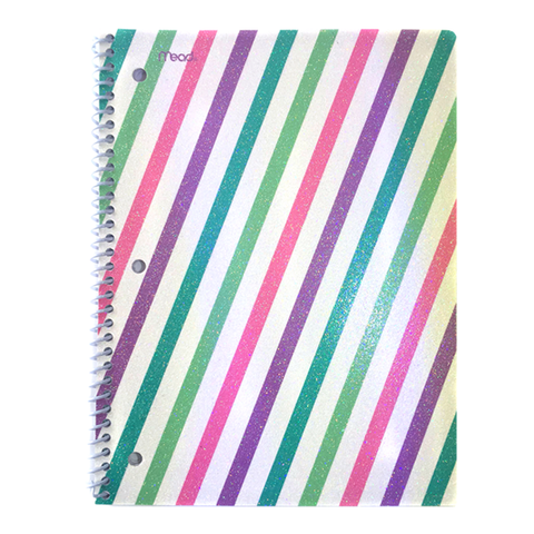 Rainbow Glitter Diagonal Stripe Pattern Notebook