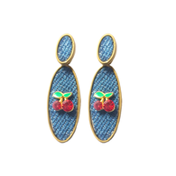Cherry Denim Earrings