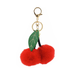 Cherry Faux Fur Keychain