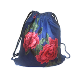 Denim Floral Embroidery Drawstring Backpack