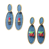 Lipstick Denim Earrings