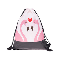 Flamingo Love Drawstring Backpack