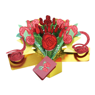 Surprise Box of Roses 3D Pop Up Card