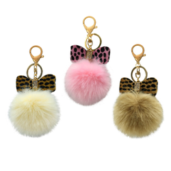 Wow Bow Fur Ball Keychain