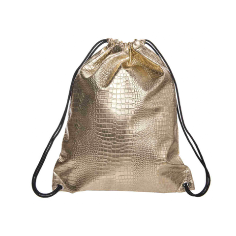 Faux Crocodile Leather Drawstring Backpack