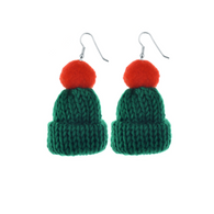 Green Red Beanie Earrings