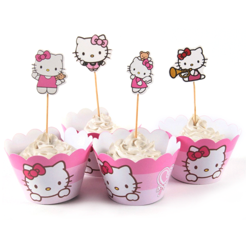 Hello Kitty Cupcake Wrappers & Toppers - 12 Sets