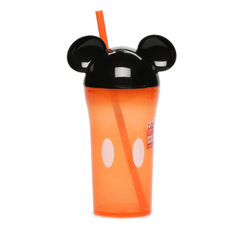 Orange Mickey Tumbler with Straw