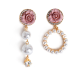 Mismatch Pearls & Roses Earrings