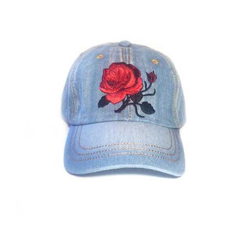Embroidered Denim Baseball Cap