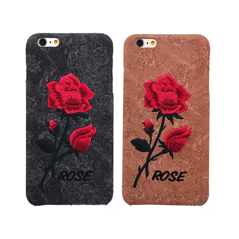 Embroidered Rose Case for iPhone 6, 7