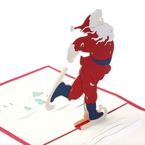 Santa the Ice Skater 3D Pop Up Card