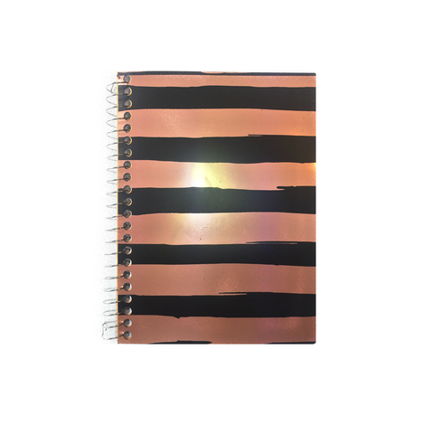 Metallic Rose Gold and Black Stripe Pattern Notebook