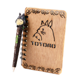 totoro wood notebook and pen set
