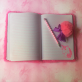 Unicorn Faux Fur Notebook + Pom Pom Pen