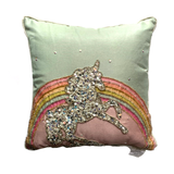Beaded Rainbow Unicorn Throw Pillow