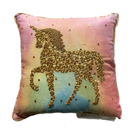 Beaded Unicorn Throw Pillow
