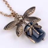 Necklaces - Vintage Black Stone Dragonfly Pendant Necklace
