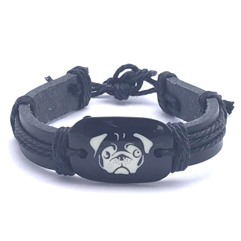 Bracelets - Pug Braided Woven Rope and Leather Bracelet
