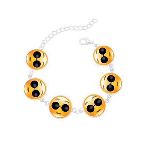 Bracelets - Cute Emoji Face Bracelet Face with Glasses Emoji