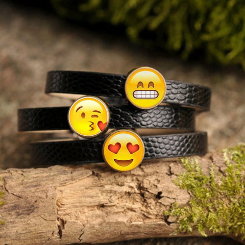 Bracelets - Leather Emoji Charm Bracelet