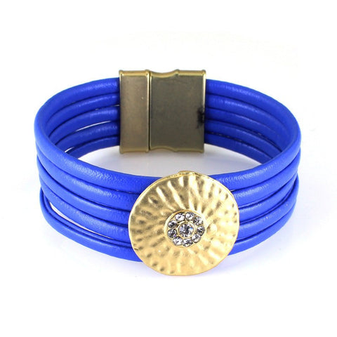 Bracelets - Multi-layer Leather Bracelet Blue