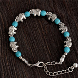 Bracelets - Silver Elephants With Turquoise Beads